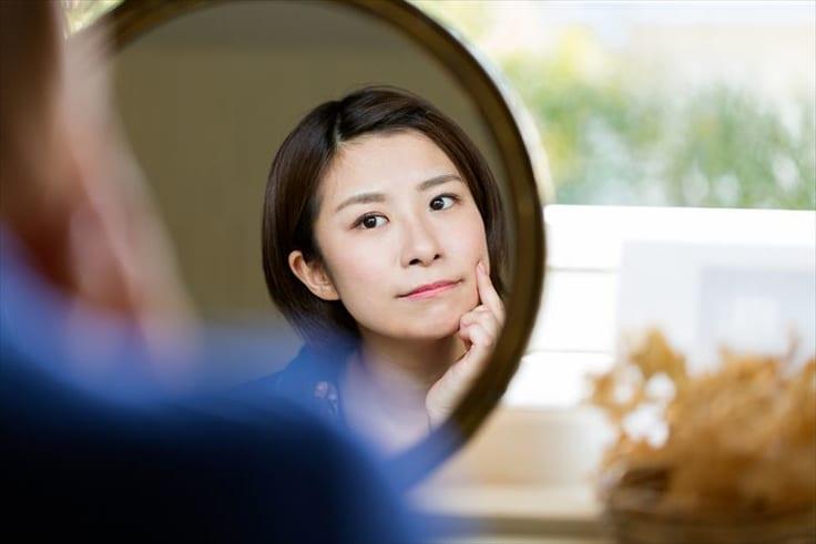 鏡で自分を見る
